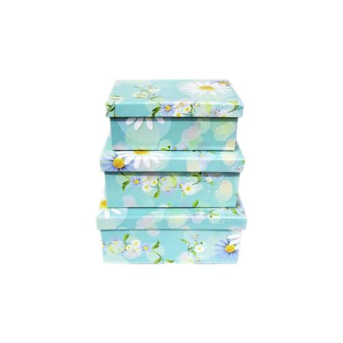 Короб для подарков №8 (картон; набор из 3шт - 13см х 13см х 6,5см; 12см х 12см х 5,5см; 9см х 9см х 5см) 250 руб.набор