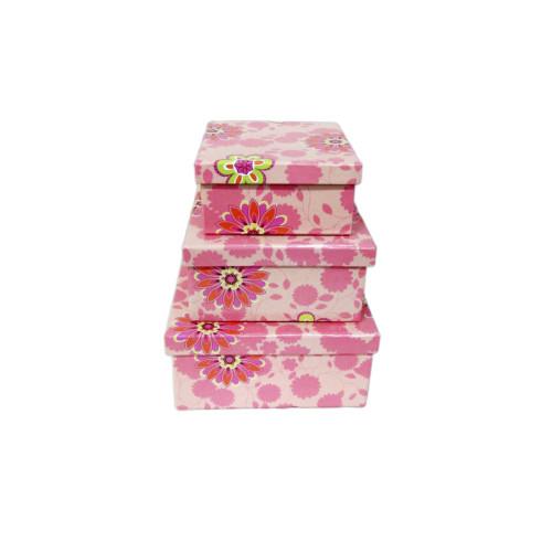 Короб для подарков №9 (картон; набор из 3шт - 13см х 13см х 6,5см; 12см х 12см х 5,5см; 9см х 9см х 5см) 250 руб.набор